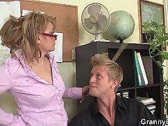 He fucks naughty mature office woman