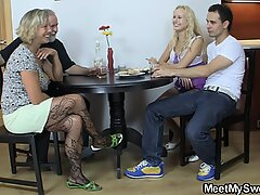 senior mummy seduces his fresh girl into family sex