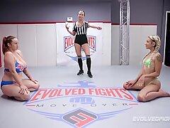Big boobed Bella Rossi lesbian sex wrestling with Sophia Grace