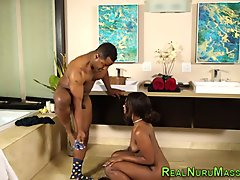 Ebony masseuse rammed