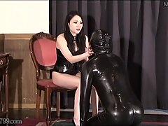 Japanese Femdom Whipping and Girls Spitting into Guys Mouths