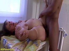 big natural breast hairy mature midget enjoys her first rough big black cock interracial porn lesson