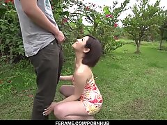 Strong blowjob in outdoor by cute Mami Masaki
