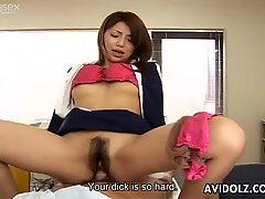 Voracious Japanese babe Yuuna Miyazawa poked in hairy pussy