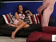 Heeled glamour voyeur teasing her jerking sub