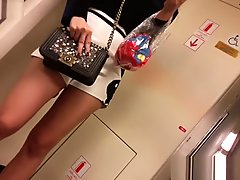 Candid - sexy asain teen with sexy butt in tight white shorts