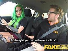 Fake Driving School Wild fuck ride for tattooed buxomy big arse ultra-cutie