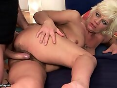 Hot granny loves big cock in her hairy pussy