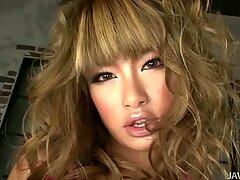Pretty Japanese girlie Rumika prefers long dildo for an ardent masturbation