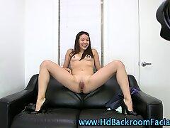 Asian amateur uses dildo and sucks