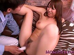 Japanese milf Erina Moa gets toyed closeup