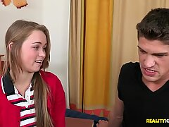 Light haired cute student gives a solid blowjob to a fat stiff dick