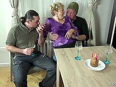 OLD GRANDMA SEDUCE 2 YOUNG GUYS TO FUCK ON HER BIRTHDAY