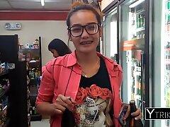 Filipina blonde teen with small tatto loves interracial pov