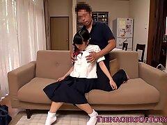 Nippon teen schoolgirl toyed in ass closeup