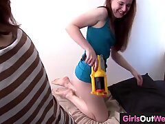 Girls Out West - Hairy amateur screams during lesbian fuck