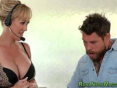 Wam mif masseuse gets big boobs spermed