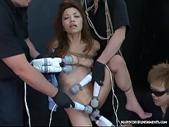 Tied Asian finger fucked to orgasm and teased with toys