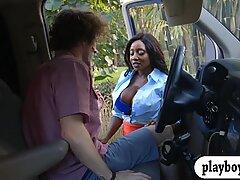Massive tits ebony milf screwed by big dick in the car