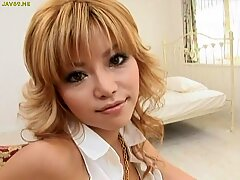 Emotional blonde from Japan skillfully and playfully caresses
