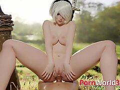 Cute 2B from Game NieR Automata Getting Fucked and Creampied