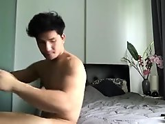 Hot Thai model trying-on underwear with a rock hard cock