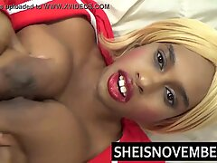 HD Young Cumshot And Cum Swallow Big Natural Tits Black Girl Dripping Down Her Ebony Face With Mouth Open And Biting Balls Wearing Red Lip Stick Sheisnovember