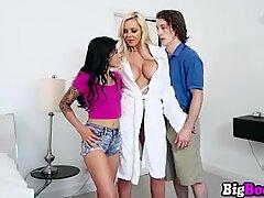 Busty blonde MILF Nina Elle visits Sadie Pop and husband