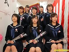 Japanese schoolgirls got together and had a group sex right at school.