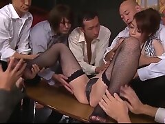 Maki Hojo gangbang sex in rough office scenes