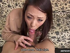 Japanese housewife Asuka is pleasing a guy, uncensored