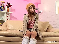 Japanese Babe Plays With Toys