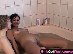 damsels Out West - lovely lesbians in a whirlpool bath