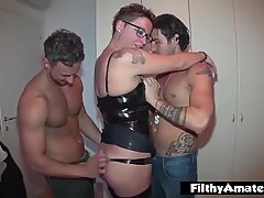 Milf gets fucked by two gigolos