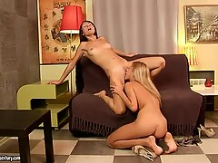 Skinny babes Ioana and Reilly prefer 69 position in their quest for lesbian pleasures