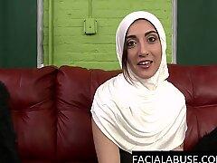 Rough throat fucking for Arab cunt