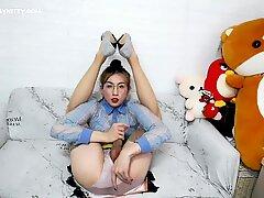 ABC029 Petite erotic secretary Abby Kitty in sexy stockings ,high heels masturbation and cumshot ,semen drink